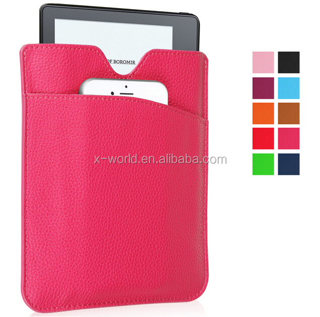 Factory new design leather sleeve two bag leather tablet case for Amazon kindle Oasis 2016