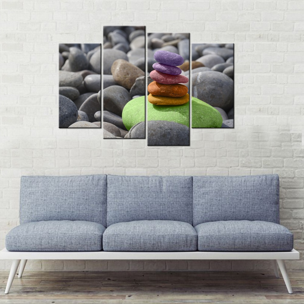 Pebble Picture Canvas Print Living Room Decor/Refreshing style Pebbles Canvas Painting Wall Art/Zen Stones Canvas Prints 4 Panel