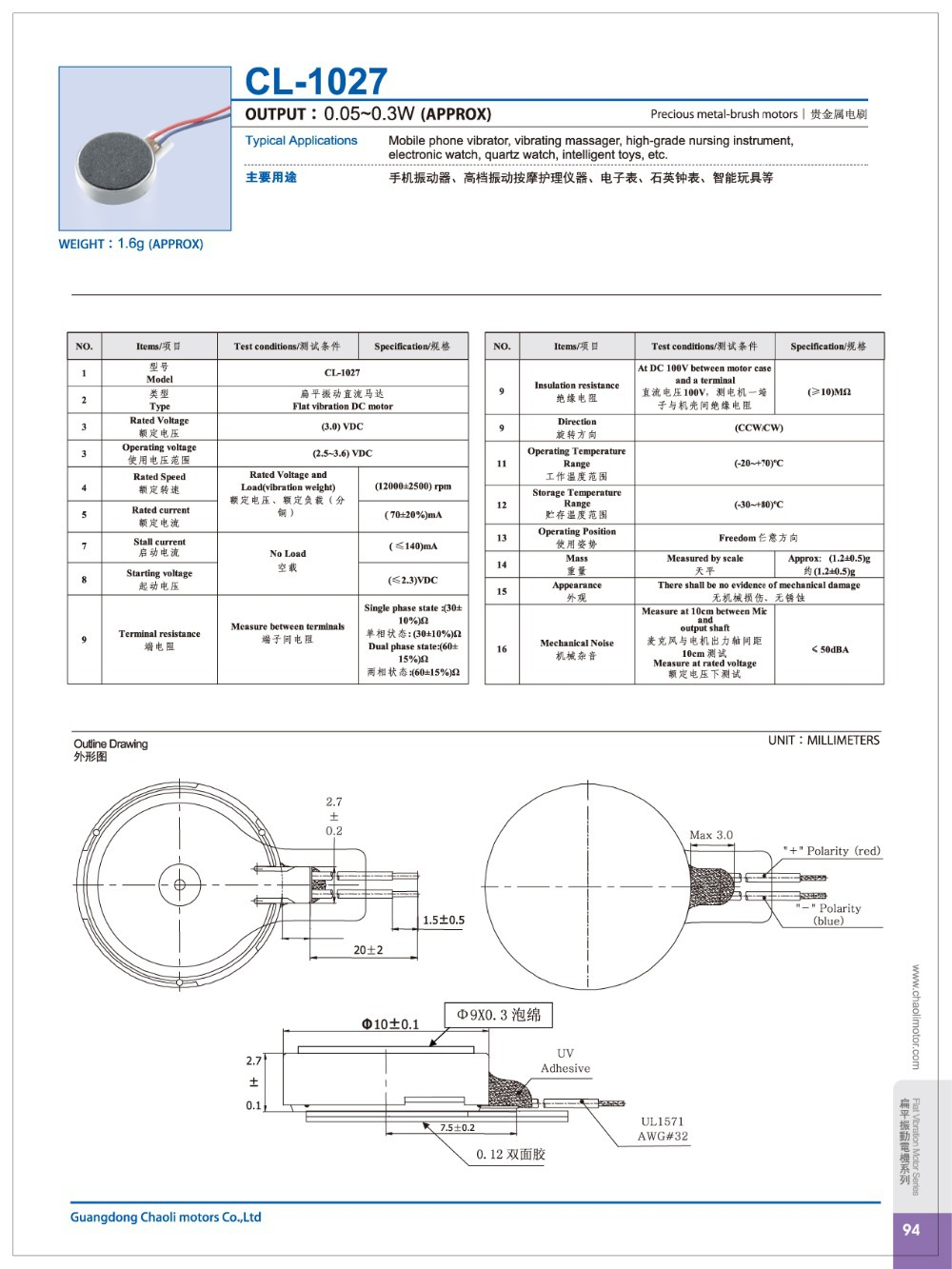 reasonably structured bldc motor CL-1027 for Personal care products