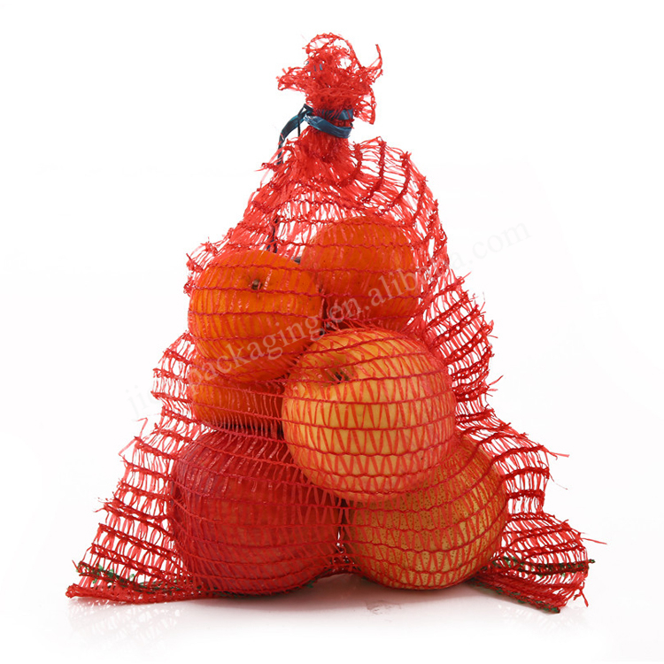 Cheap and reusable orange raschel mesh bag with drawstring for potato,onion