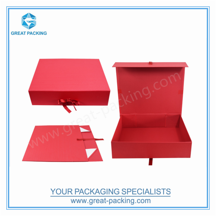 high-end printed cardboard red wine box with handle silk ribbon magnetic folding collapsible gift bags wedding packaging box