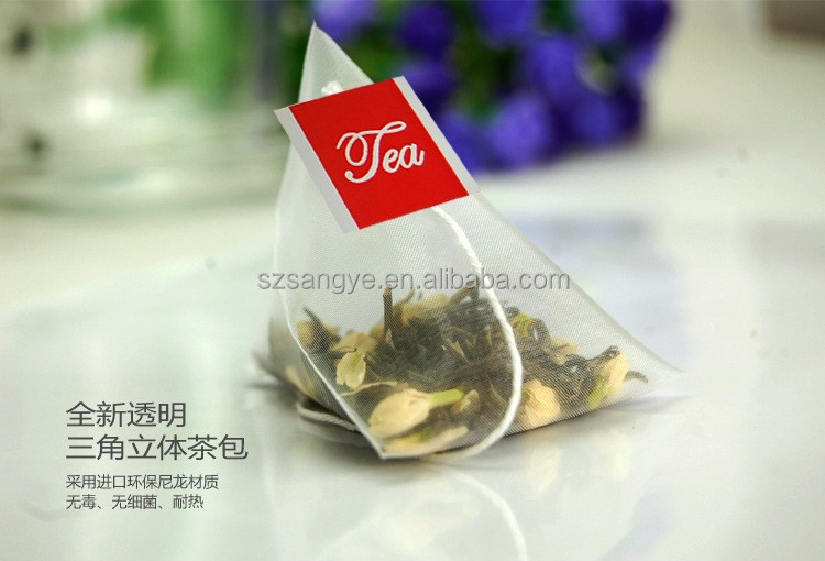 wholesale small nylon pyramid food packaging tea bags with string