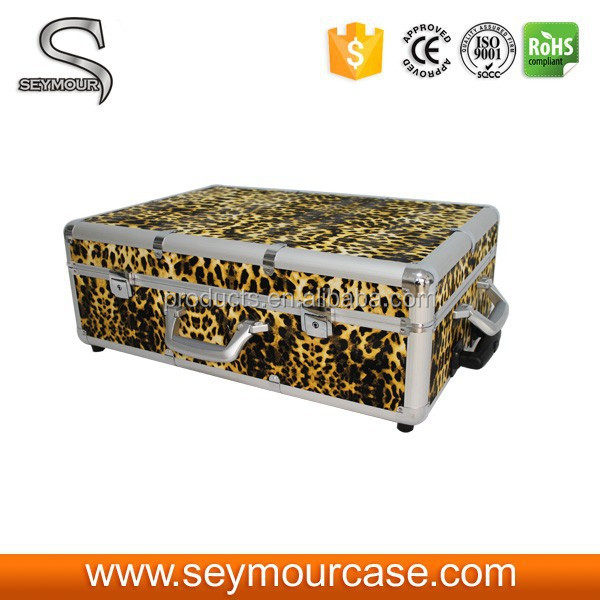 Leopard Trolley Wheels Light Box Cosmetic Case with Mirror