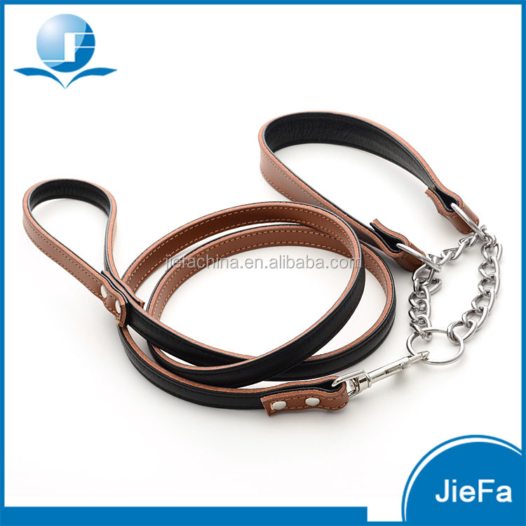 Sublimation Patterns Promotional Genuine Leather Metal Chain Dog Collar and Leash