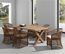 TF-C0104 Outdoor Modern PE rattan garden dining set with umbrella outside furniture
