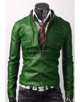 Real Leather Handmade Mens Green Slim Fit Jacket