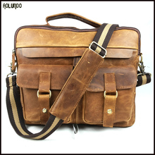 fashion genuine cow brown leather mens laptop bag handbags