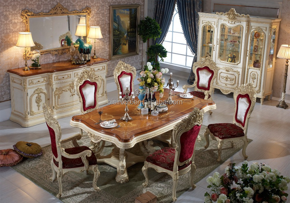 Wooden Top Italian Design Dining Room Furniture Luxury Antique Style Table