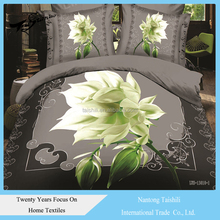 Wholesale 200TC 100% polyester bed set 3D printed floral sheet, duvet cover,pillow case