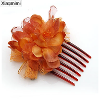 Colorful cloth flowers selling romantic Attractive female jewelry comb
