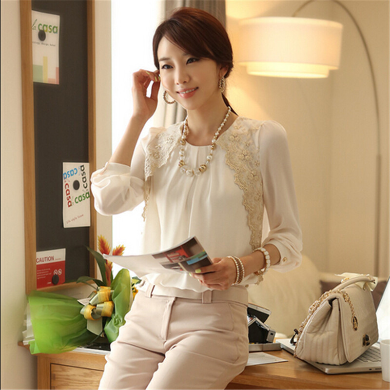 AR078 women blouses collar designs wholesale women clothing 2015 fashion long sleeve chiffon women blouses
