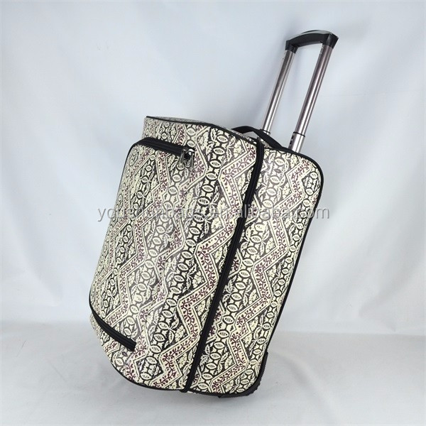 Simple desigh grey color PU leather china cheap wheeled luggage