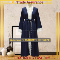 1491# Ladies Embroider Nida Ployester Islamic Clothing Women Front Open Kimono Cardigan Designs For Women Dubai Abaya Wholesale
