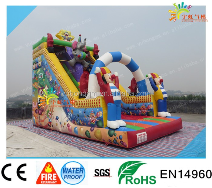 2016 Clown big slide ,giant inflatable slide for adult