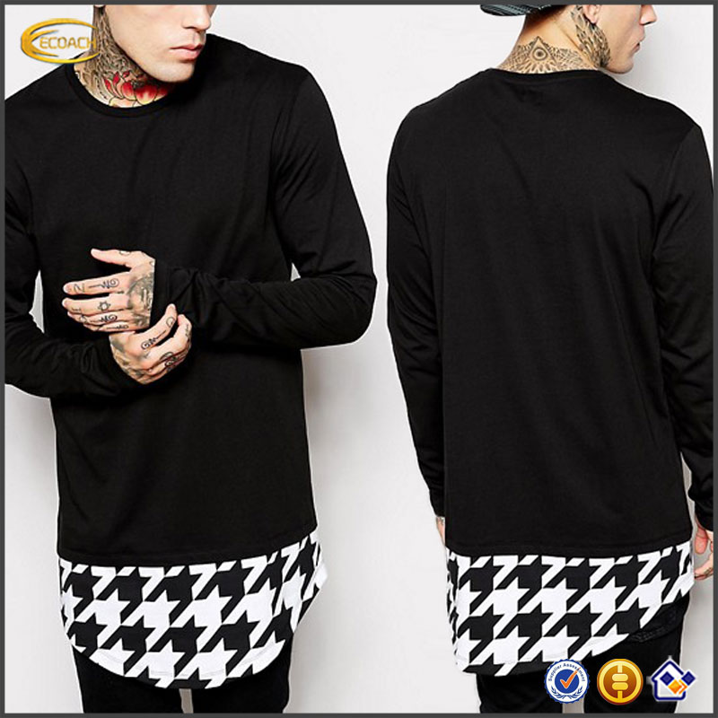 Sample Order Payment Long Sleeve Contrast Print Curved Hem Mens Fashion Longline <strong>T</strong> <strong>Shirt</strong>