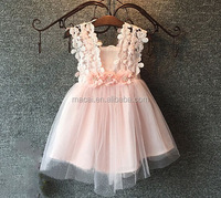Korean sweet princess sleeveless flower girls velvet dress