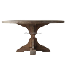 FN-6576 classic design carved round recycled wood dining table