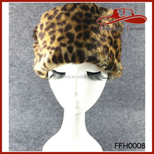 Faux Fur Animal Leopard Winter Russian Hat With Fur
