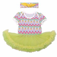 Factory direct supplier rainbow stripe lace dress baby romper set