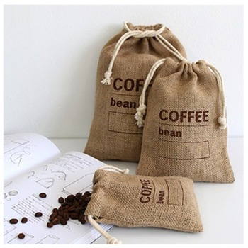 Customized print bag personalize sack drawstring pouch reusable cotton linen coffee packaging bag