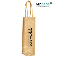 Customized Logo Print Company Name Print pvc window wooden handle Single Jute Wine bottle Tote Bags