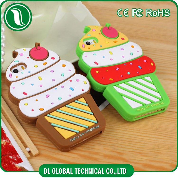 Korean sweet style cell phone cases of cute ice cream shape mobile phone cover for iphone 5 back housing silicone phone cover