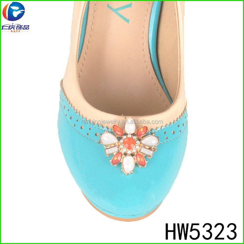 HW5323 Colorful mini metal spring clip shoe buckles decorated buckles