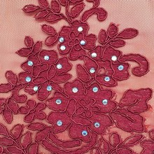 Shaoxing Textile popular style dresses embroidery polyester cord crystal beaded moroccan kaftan beaded embroidery design fabric