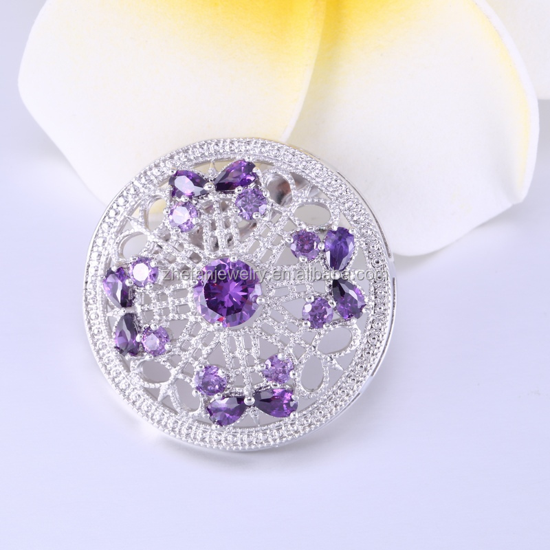 Hot sale purple crystal sliver plated rhinestone brooches for women ,flower shaped wedding brooches manufacturer