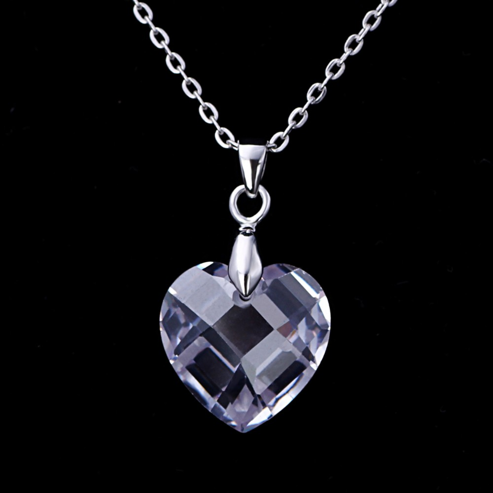 Tanishq Diamond Designs Style Glass Sterling Silver Heart Necklace Cage Pendants Wholesale