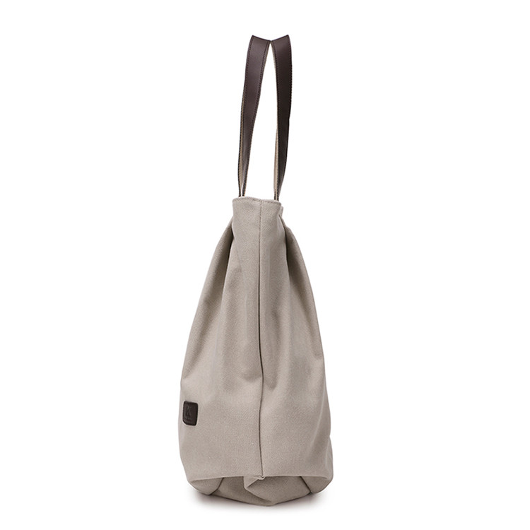 New design plain natural colour canvas beach bag printed calico shoulder bag heavy duty zippered tote bag