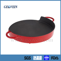 Cast Iron Camping Bivouac Outdoor Cookware Round Enamel Roasting Pan