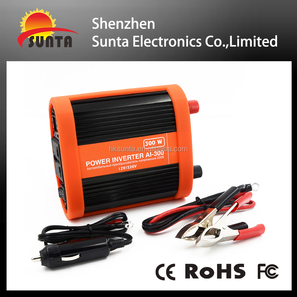 ShenZhen factory sales 300W car inverter intelligent dc/ac power inverter with charger