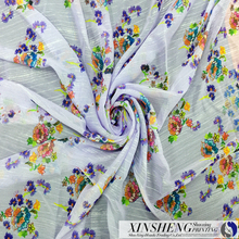 100% polyster floral digital priting chiffon crushed with matallic yarn for garment