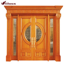 Carved Solid Wood Entrance Wooden Office Entrance Mahogany Wood Entry Door