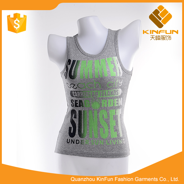 New unique design gray anti-wrinkle cotton children tank top