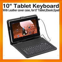 "10"" Tablet Leather Keyboard Case Cover Bracket USB+MINI USB for Tablet PC MID Apad Epad Russian words available"