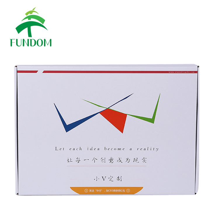 Cheap personlized OEM design printed white corrugated box packaging paper clothes packing flat pack box for gifts