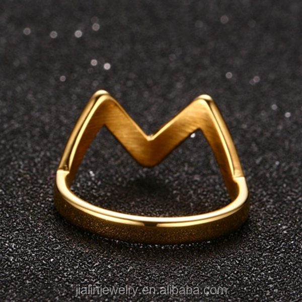 Simple design 925 sterling silver alphabet letter M ring jewelry