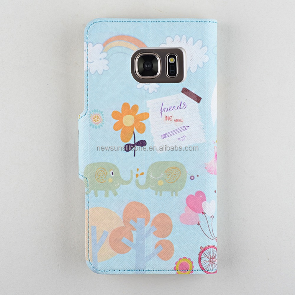 Flower pattern soft plastic flip type cell phone case
