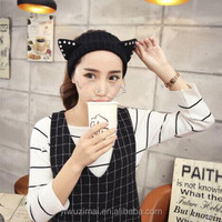 Japan and South Korea new cute cat ear diamond wool knitting wide-brimmed hat