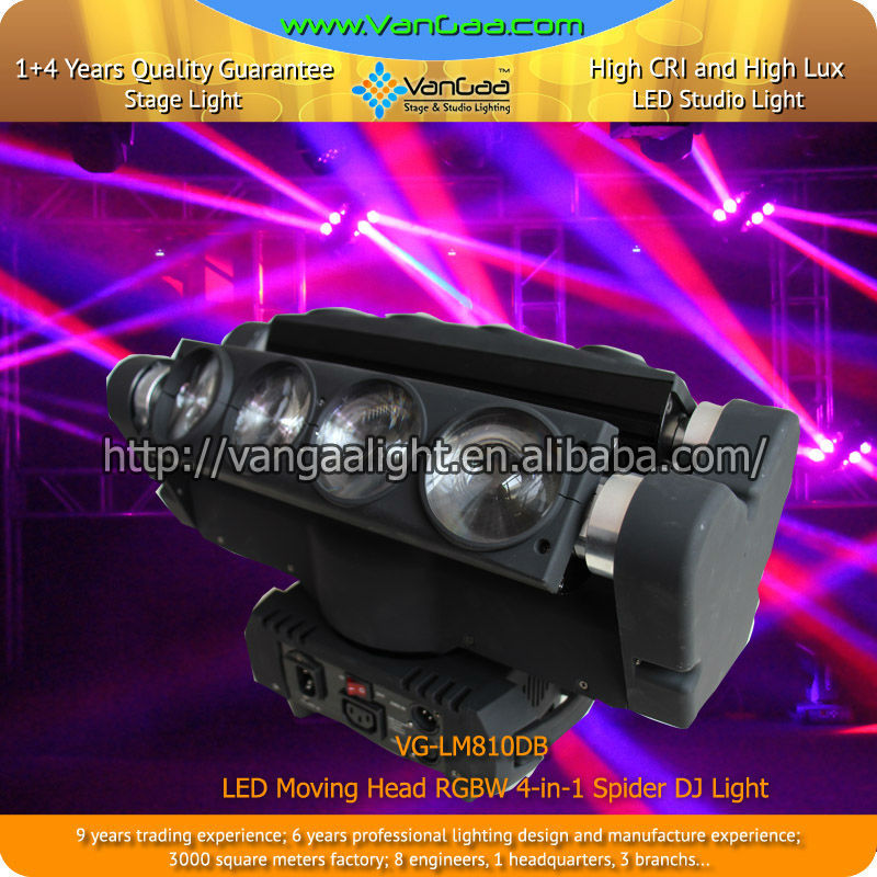 0-100% Linear Dimmer 4-in-1 RGBW LED Moving Head Light Spider Beam With Excellent Effect