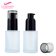 Cosmetic 20ml 30ml 50ml round cylindrical frosted lotion glass liquid foundation cosmetic foundation bottle packaging