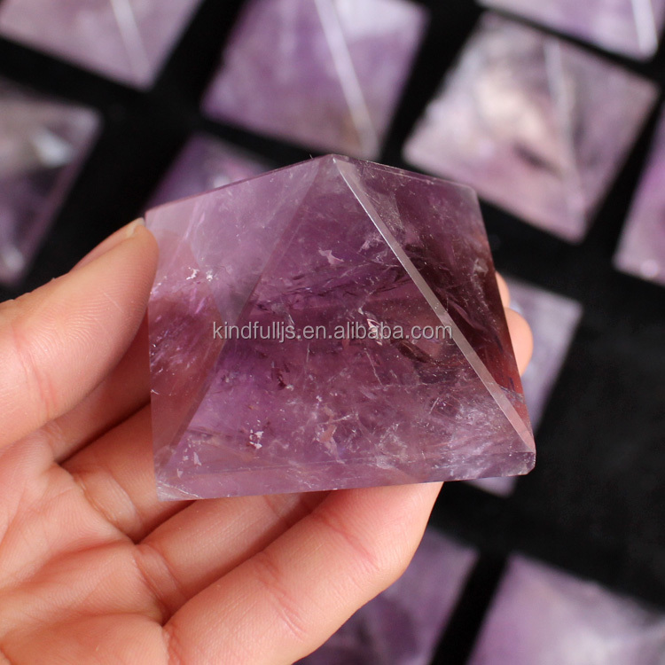 Natural Rock Hand Carved Amethyst Crystal Pyramid