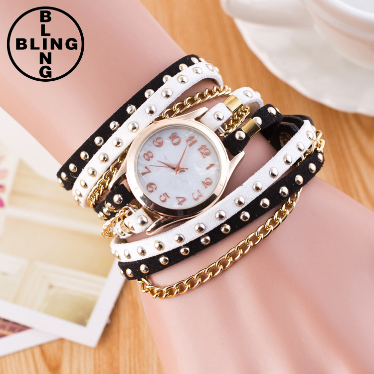 >>>2017 New Gift Fashion Casual Quartz Women Rhinestone Watch Braided Leather Bracelet Watch