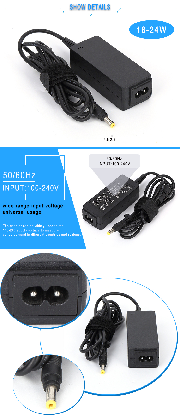 Desktop 12V 2A Power Adapter 24W Power Supply for LED/LCD/CCTV Monitor