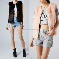 2014 latest women knitting short rabbit fur vest made in china