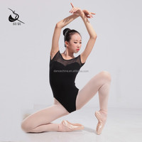 11414141 Mesh Leotards V Back White Black Gymnastics Leotards