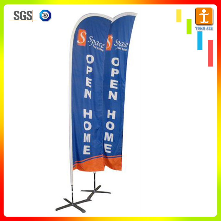 Outdoor promotional polyester sail wind beach advertising flag banner stand