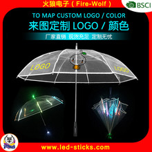 2016 Party Plastic beautiful colorful light up Flashing light led umbrella Transparent led umbrella light